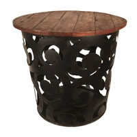 Eangee Home Design Outdoor Metal Drum Table Series- C