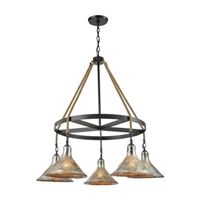 ELK Hand Formed Glass Collection 5-Light LED Chandelier in Oil Rubbed Bronze- 10436/5CH