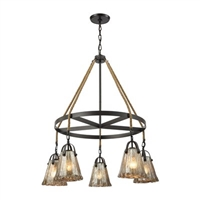 ELK Hand Formed Glass Collection 5-Light LED Chandelier in Oil Rubbed Bronze- 10631/5CH
