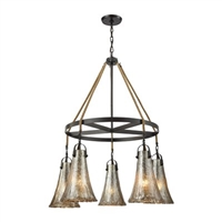 ELK Hand Formed Glass Collection 5-Light LED Chandelier in Satin Nickel- 10651/5CH