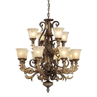 ELK Regency Collection 12-Light Chandelier in Burnt Bronze- 2165/8+4