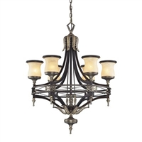 ELK Georgian Court Collection 6-Light Chandelier in Antique Bronze- 2431/6