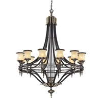 ELK Georgian Court Collection 12-Light Chandelier in Antique Bronze- 2434/12
