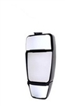 714652 Velvac Black MIRROR HEAD ONLY with Triple Glass (Heated/Remote Controlled Flat Glass in the Middle and Heated/Manual Convex Glass on Top and Bottom) - INVERTED