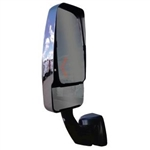 715637 Velvac RV Mirror-Driver Side. Driver's Side Revolution Black Arm, V-Max style Chrome Head, Lighted Arm.