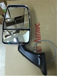 Velvac Part # 717707  Chrome Deluxe Head Black 2025 Base HR Flat Glass / HM Convex Glass