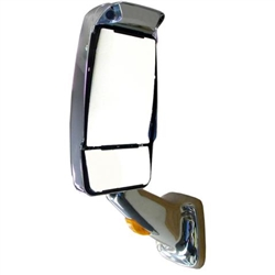 719197 Velvac Mirror Driver Side Chrome Euromax Head HR Flat Glass / HM Convex Glass Chrome 2025 Base With Turn Signal
