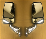 Velvac RV Motorhome Chrome VMAX Head Mirror Set No Turn Signal W/ Wire Kit & Switch