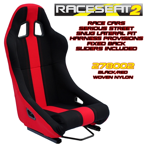 Performance World 278002 RaceSeat2 Racing Black Nylon w//Red Accents Seat Each