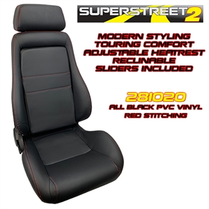 Performance World 281020 SuperStreet2 Touring Black PVC Vinyl Seats. Red stitching. Pair