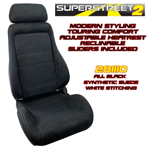 Performance World 281110 SuperStreet2 Touring Black Synthetic Suede Seats. White Stitching. Pair