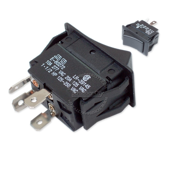 Rocker switch DPST 4 snap-in terminals 20A 125V