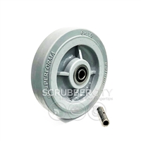"Buffer Wheel. Non-marking w/sealed precision ball bearing. Size 6"" x 1-1/2"""