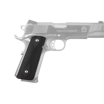 Hogue Colt, 1911 Government Magrip Kit Aluminum Checkered, Flat Mainspring Matte Black Anodized