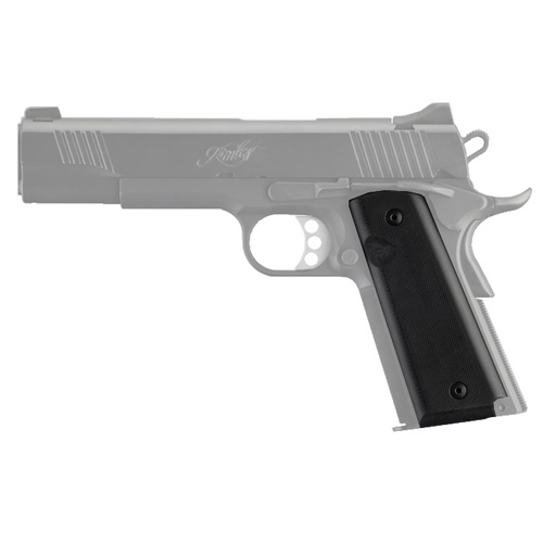 Hogue 1911 Black Matte Aluminum Pistol Grips - Government/Commander 9/32