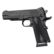 "Hogue 1911 Government/Commander 3/16"" Thin Grips Aluminum Checkered Matte Black Anodized"