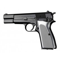 Hogue Browning Hi Power Grips Checkered Aluminum Brushed Gloss Clear Anodized