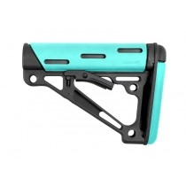 AR-15 / M16: OverMolded Collapsible Buttstock (Fits Commercial Buffer Tube) - Aqua