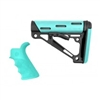 AR-15/M-16 Kit - Finger Groove Beavertail Grip and OverMolded Collapsible Buttstock - Fits Mil-Spec Buffer Tube - Aqua Rubber