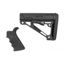 Made of Black OverMolded Rubber. Includes:  - Beavertail Finger Groove Grip  - Mil-Spec Collapsible Buttstock