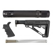 AR-15/M-16 3-Piece Kit Black - Grip, Collapsible Buttstock, and Forend with Accessories