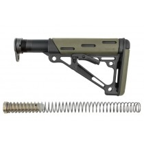AR-15 / M16: OverMolded Collapsible Buttstock Assembly (Includes Mil-Spec Buffer Tube & Hardware) - OD Green