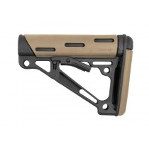AR-15 / M16: OverMolded Collapsible Buttstock (Fits Commercial Buffer Tube) - FDE