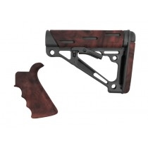 AR-15/M-16 2-Piece Kit Red Lava - Grip and Collapsible Buttstock - Fits Commercial Buffer Tube