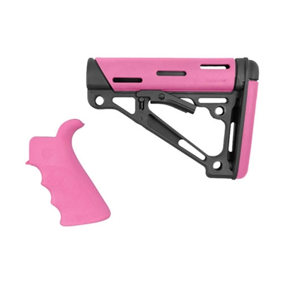 AR-15/M-16 2-Piece Kit Pink- Grip and Collapsible Buttstock - Fits Commercial Buffer Tube