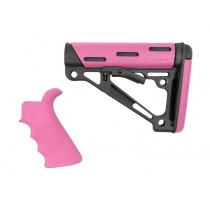 AR-15/M-16 2-Piece Kit Pink- Grip and Collapsible Buttstock - Fits Mil-Spec Buffer Tube
