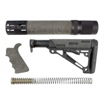 AR-15/M-16 3-Piece Kit Ghillie Green - Grip, Collapsible Buttstock, and Forend with Accessories