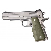 Hogue Colt & 1911 Government Grips Rubber w/Finger Groove Olive Drab Green