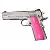 Hogue Colt Government Rubber Grip Panels, Checkered with Diamonds Pink