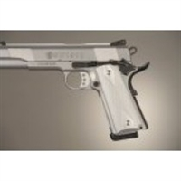 Hogue Colt & 1911 Government Grips Checkered Aluminum Brushed Gloss Clear Anodized