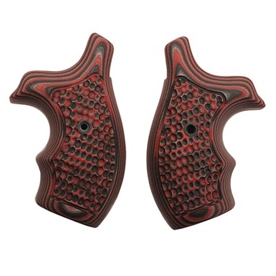Hogue S&W J Frame Round Butt Grip Bantam Piranha G-10 G-Mascus Red Lava