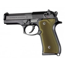 Hogue Beretta 92 Grips Checkered Aluminum Matte Green Anodized