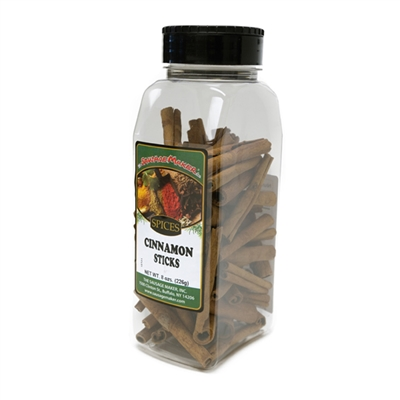 8-oz. clear plastic canister of cinnamon sticks
