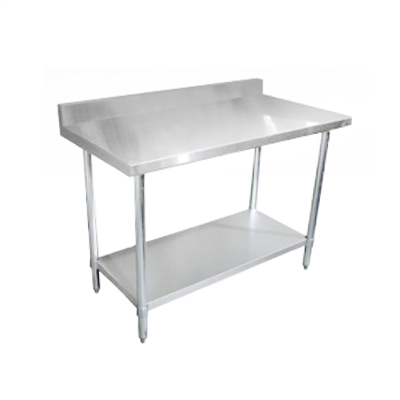 "Stainless Steel Table with Backsplash, 24"" x 60"""