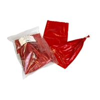 "124mm (4 7/8"") x 24"" Red Fibrous Bologna Casings, Pre-tied (20pcs)"