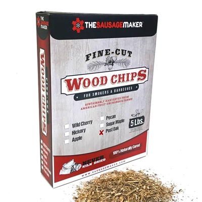 Post Oak Woodchips, Fine Cut, 5 lb. Box