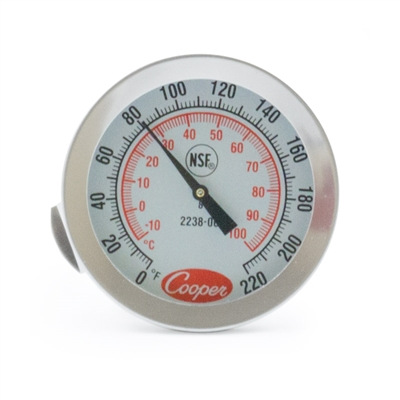 "1 3/4"" Dial Thermometer w/Clip, 8"" Stem"