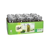Ball 1 Quart Wide-Mouth Canning Jars, Case of 12