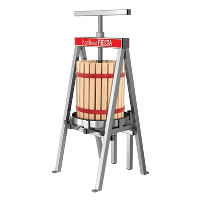 Stainless Steel Fruit and Wine Press w/Wood Basket, 18L