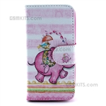 iPhone 4S/4 Wallet Case Design Pink Running Elephant With Bird On The Back