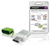 Integral Fusion 32GB USB 3.0 Type-C Flash Drive Green