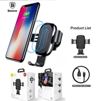 Baseus WXYL-B09 10W Qi Fast Wireless  Car Charger Mount Holder Black