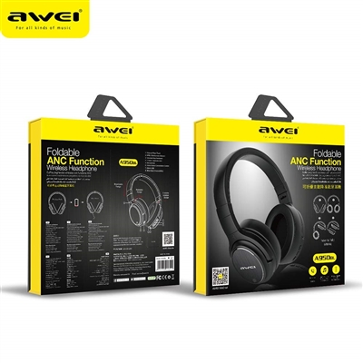 AWEI A950BL Active Noise Reduction Bluetooth Headphones  Black