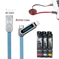 Remax RC-067t Armor Series 2 in 1 Micro and Lighting Cable Blue