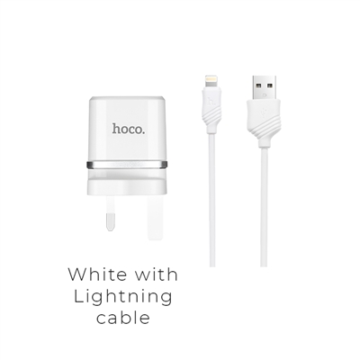 Hoco C12B Smart Dual Ports Charger Set With Lightning Cable 5V/2.4A