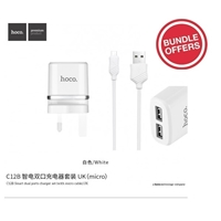 Hoco C12B Smart Dual Ports Charger Set With Lightning Cable 5V/2.4A (10 Pcs Bundle)